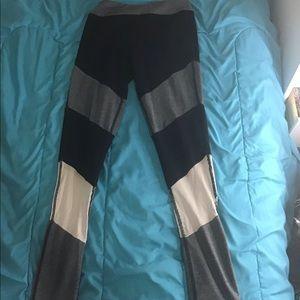 Pants - Black, gray, and white workout leggings